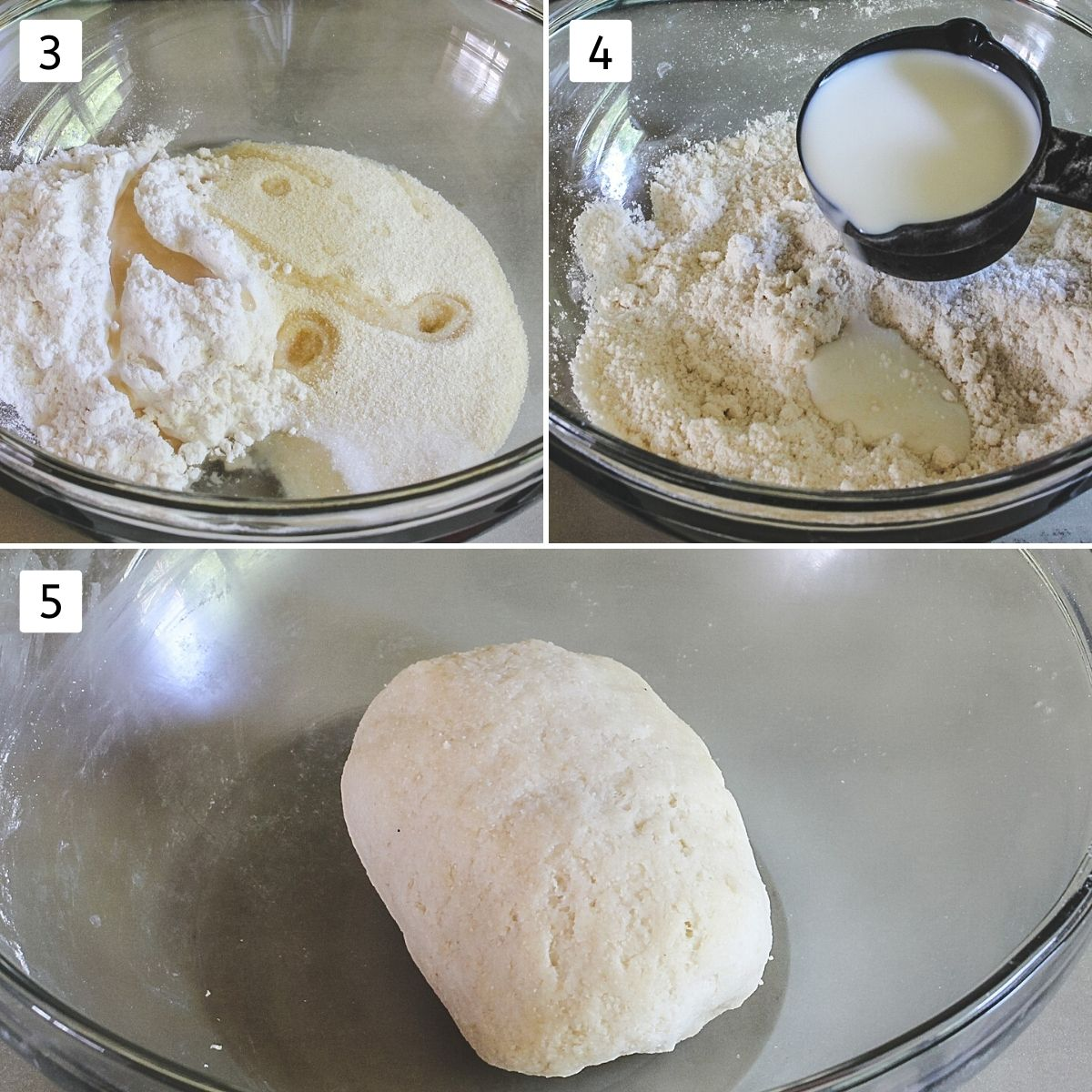 collage of 3 images making dough shows flour, salt, oil in a bowl, mixing, adding milk and kneading the dough.