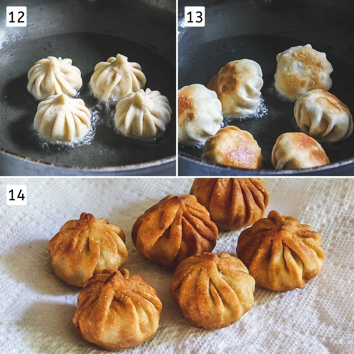 Collage of 3 images showing modaks added to oil, moved for even browning and ready fried modak on a plate