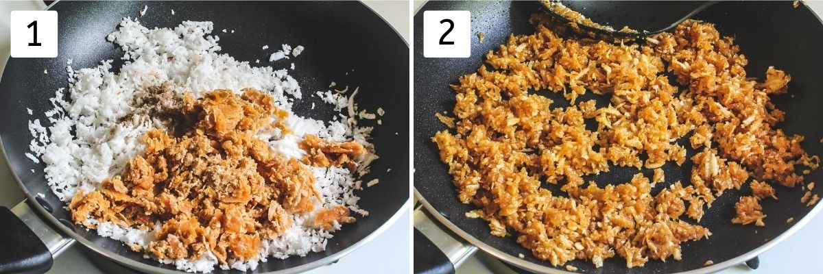 Collage of 2 steps of making stuffing. Shows coconut, jaggery in a pan and cooked stuffing mixture