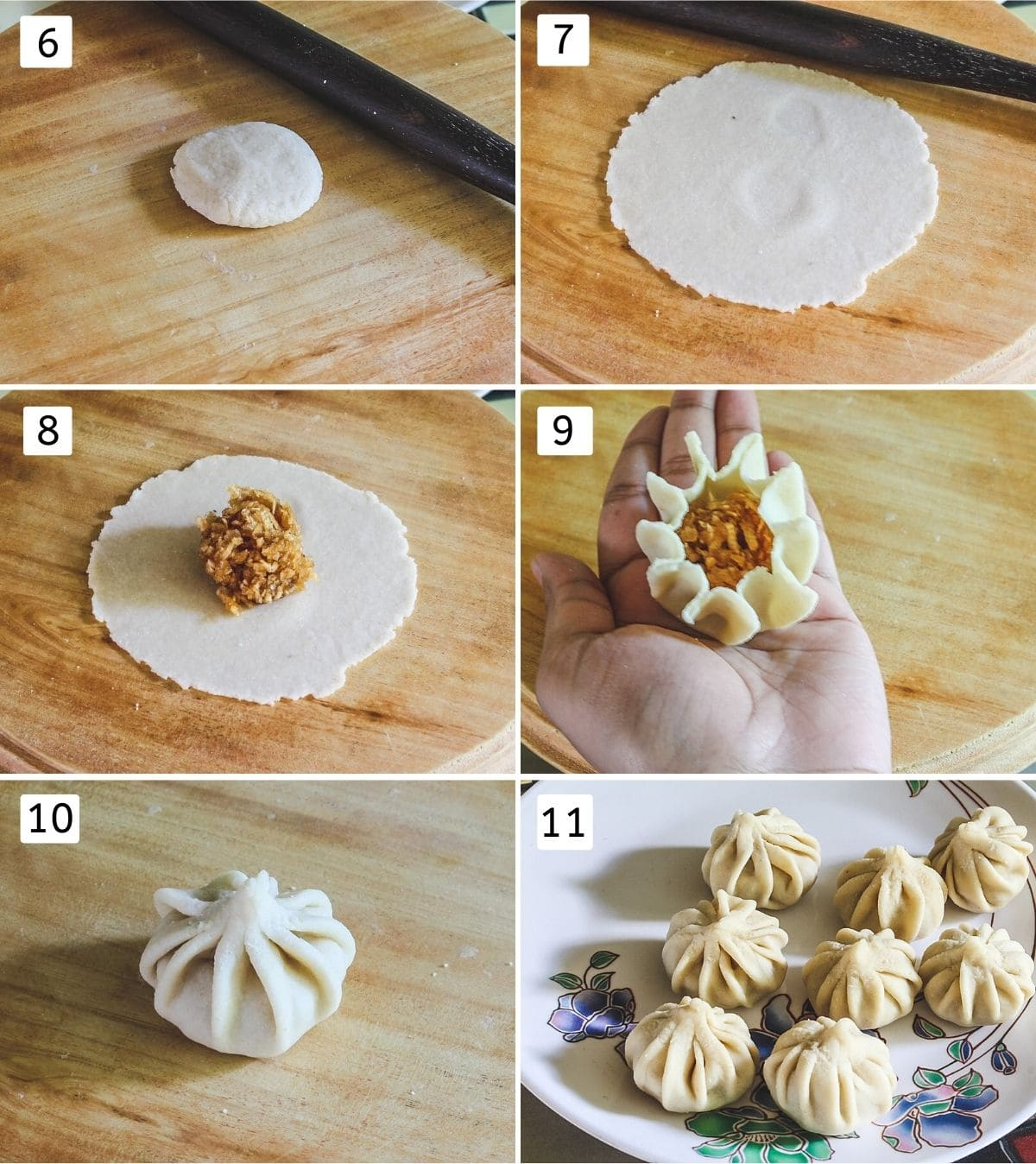 collage of 6 steps showing flattened dough ball, rolled, stuffed, pleated, sealed and all shaped modak on a plate