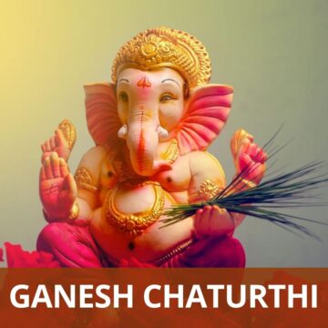 "Ganesha Idol with text ""ganesh chaturthi recipes"" at the bottom with light red background"