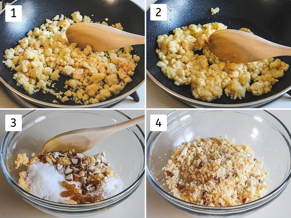 collage of 4 steps showing cooking khoya, becomes light brown, adding rest of the stuffing things in a bowl, mixing the stuffing