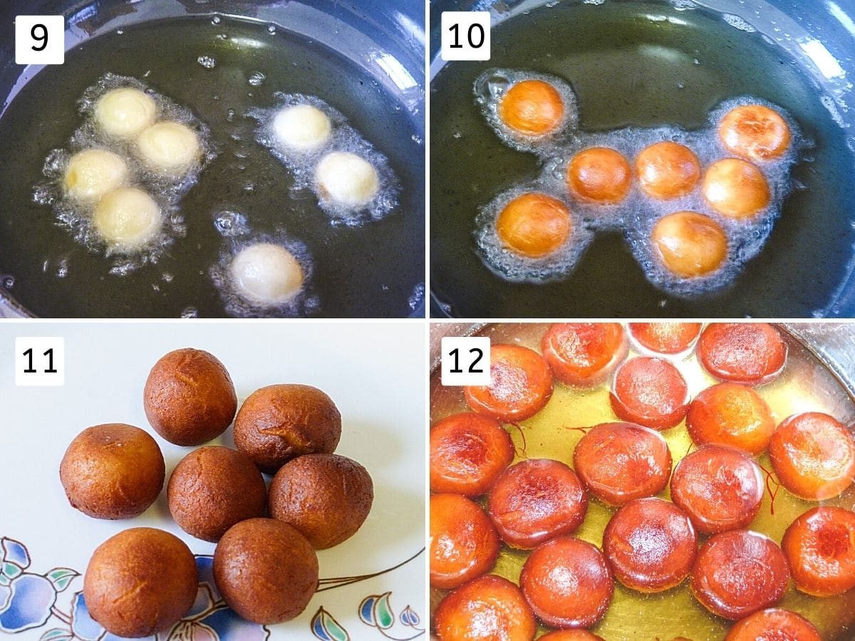 collage of 4 steps showing balls into oil, frying, fried jamun balls on a plate, added into the syrup.