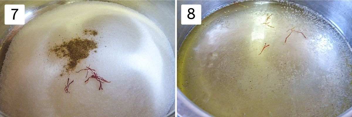 collage of 2 steps making syrup showing sugar, cardamom , saffron in a saucepan, simmering syrup.