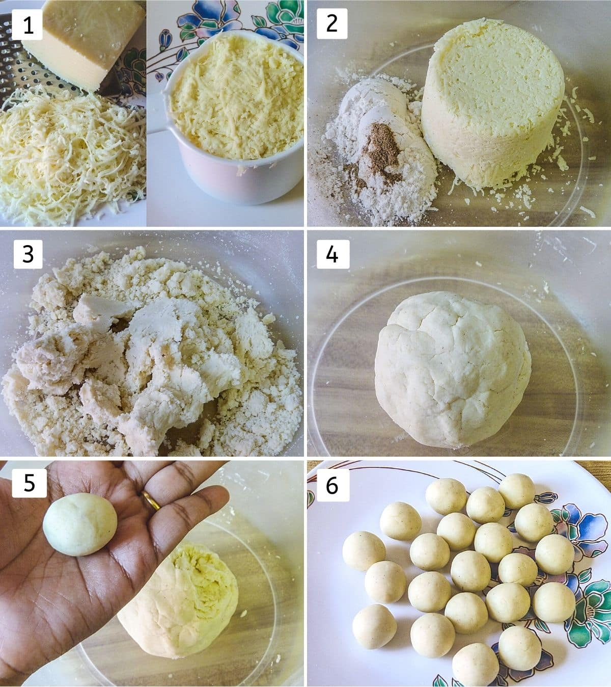 Collage of 6 steps showing grated khoya, added to the bowl with flour, mixed, made into dough, shaping ball, jamuns in a plate