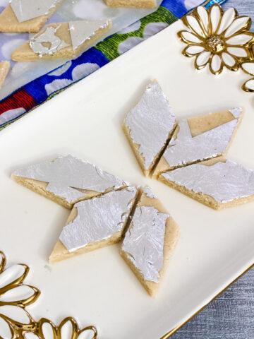 kaju katli pieces arranged on a plate