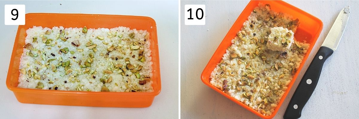 Collage of two images showing set kalakand in a container and cut into pieces with knife with one piece removed
