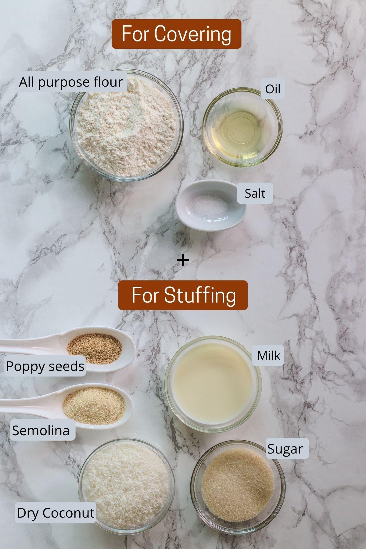 Image of ingredients used in karanji. Includes flour, salt, oil, semolina, sugar, milk, coconut, poppy seeds