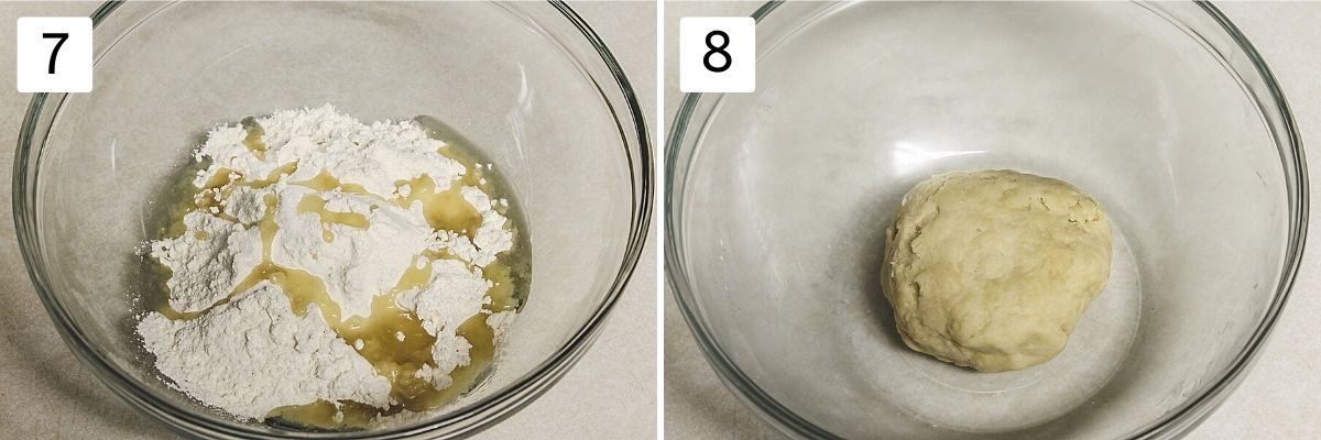 Collage of two images showing flour and oil in a bowl and dough ball.