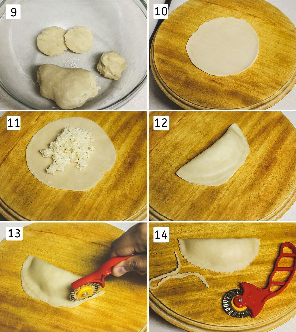 collage of 6 images showing small dough balls, rolled disc, added stuffing, folded, cut edges, shaped karanji