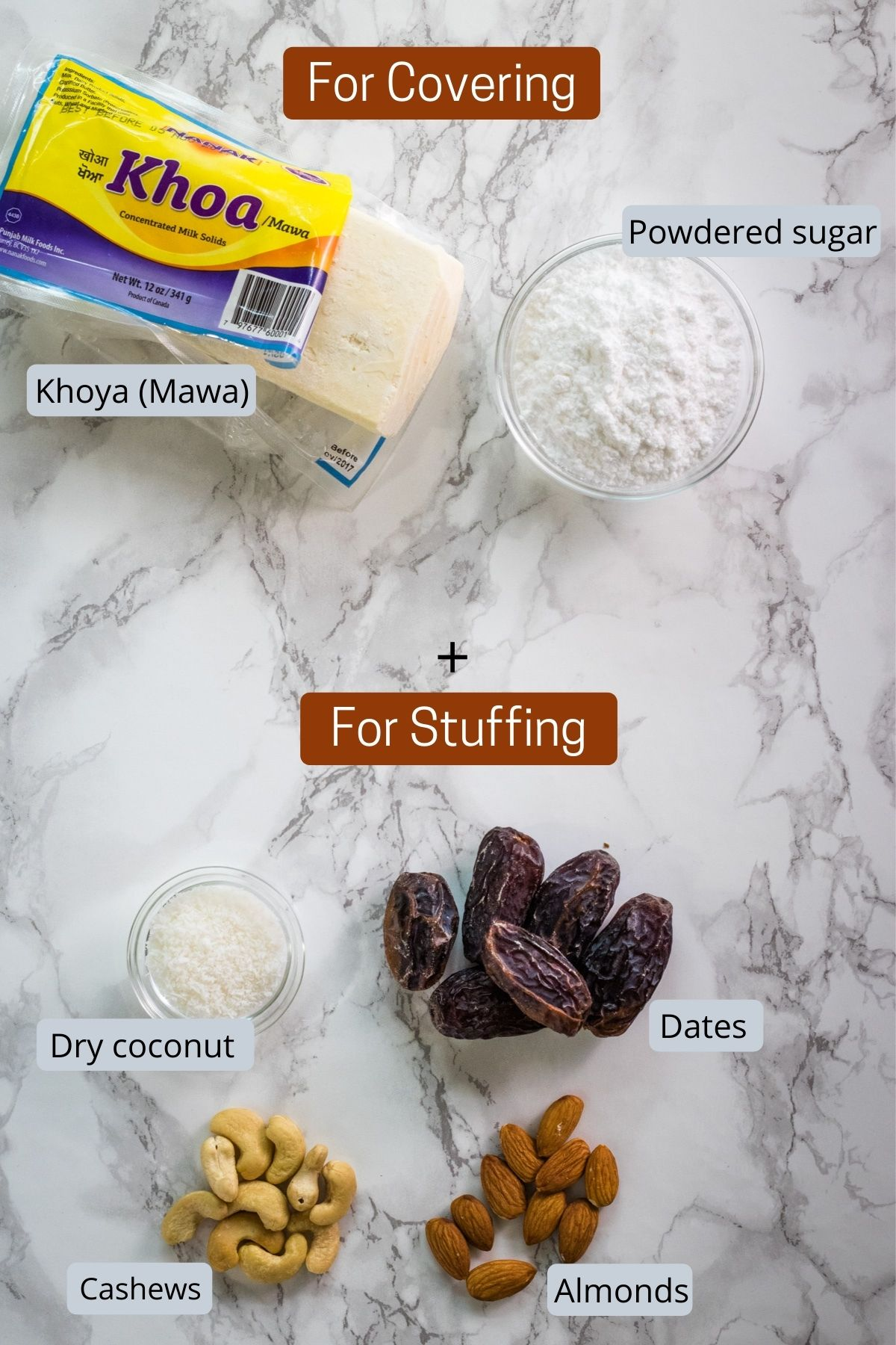 image of ingredients used in mawa modak. shows khoya, sugar, dates, nuts and coconut