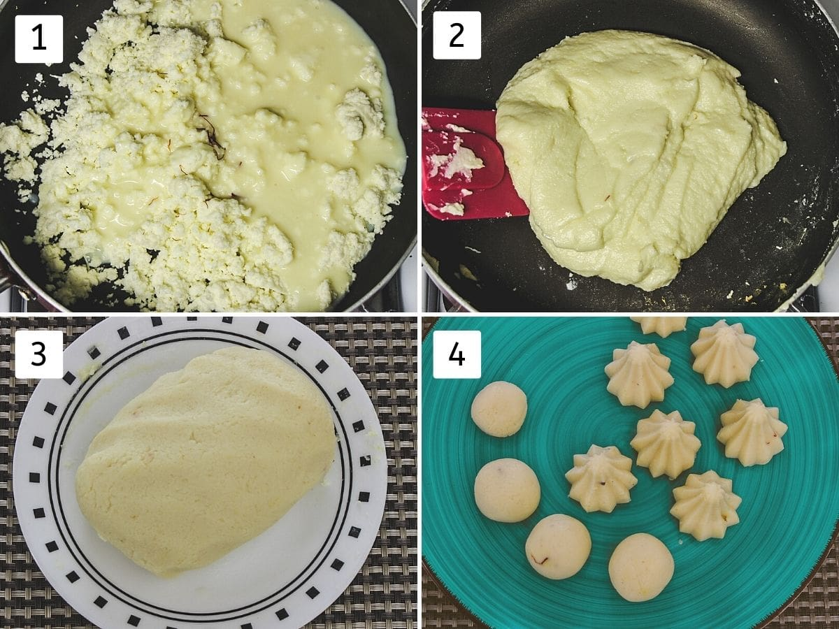 Collage of 4 steps shows adding paneer, condensed milk in a pan, cooking and shaping into modak.