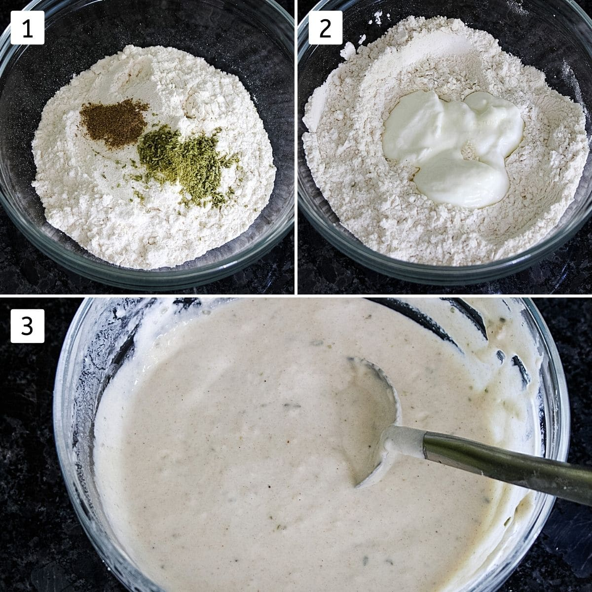 Collage of 3 images showing batter ingredients in a bowl, adding yogurt and final batter pic