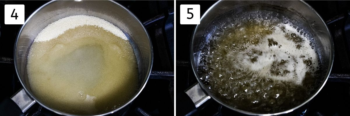 collage of 2 steps showing sugar and water in a pan, boiling syrup