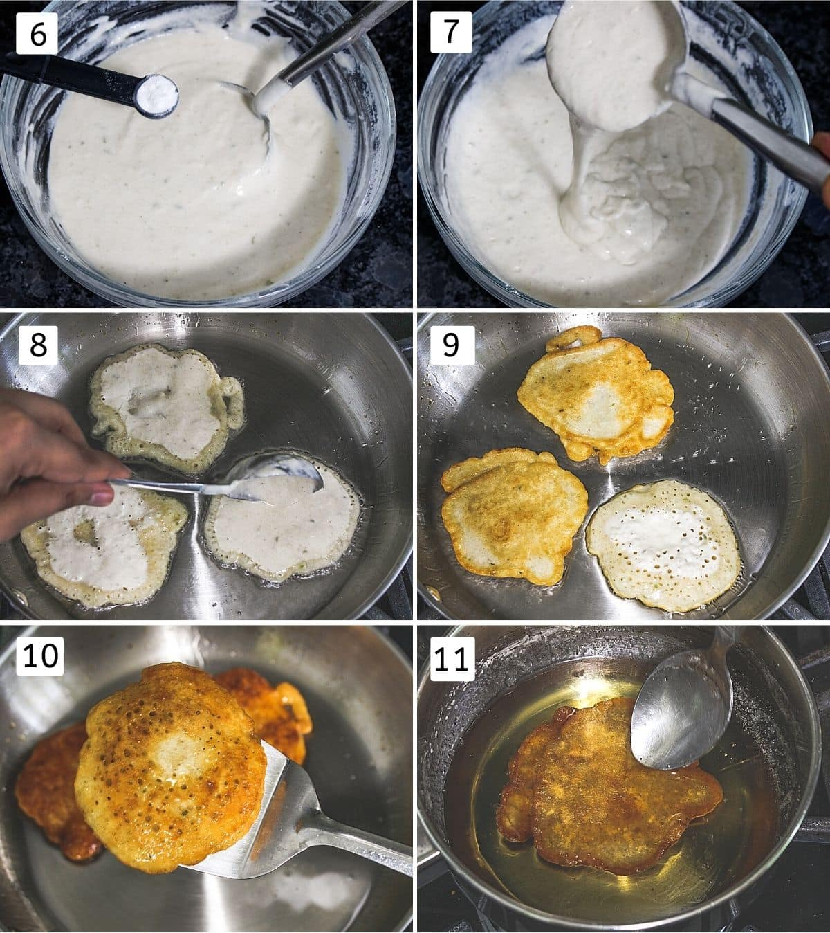 Collage of 6 steps showing adding baking powder, showing the consistency of batter, add ladleful into the ghee, flipped, ready malpua, dunked into syrup