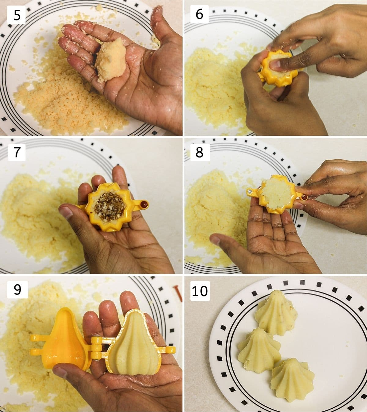 collage of 6 steps of shaping modak. Shows making small ball, adding to mould, stuffing, sealing, opening and placing on plate