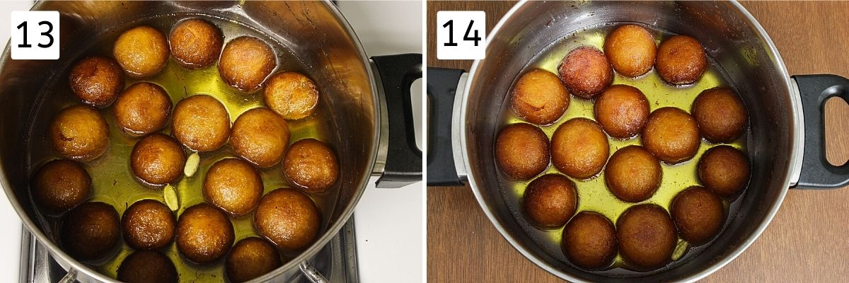 Collage of 2 steps showing added fried jamuns into syrup and soaked after few hours
