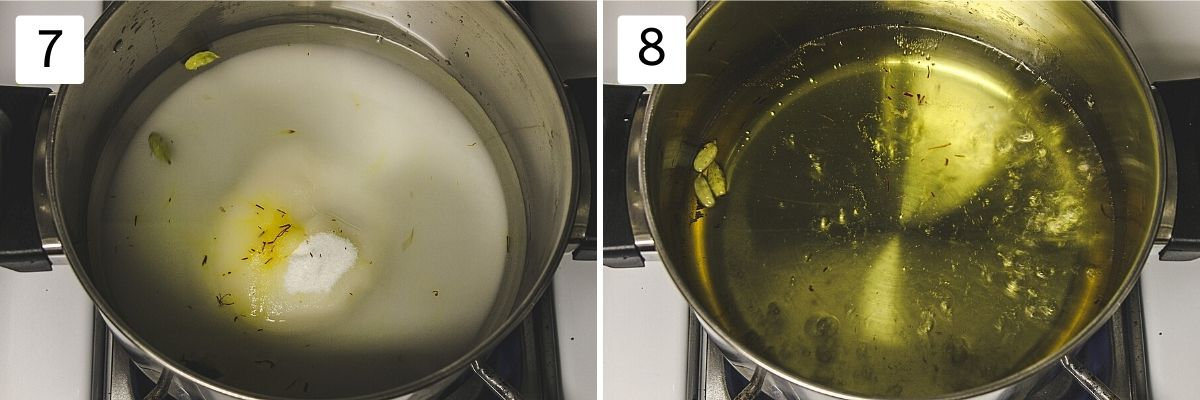 collage of 2 steps showing syrup ingredients in a pan and ready sugar syrup.