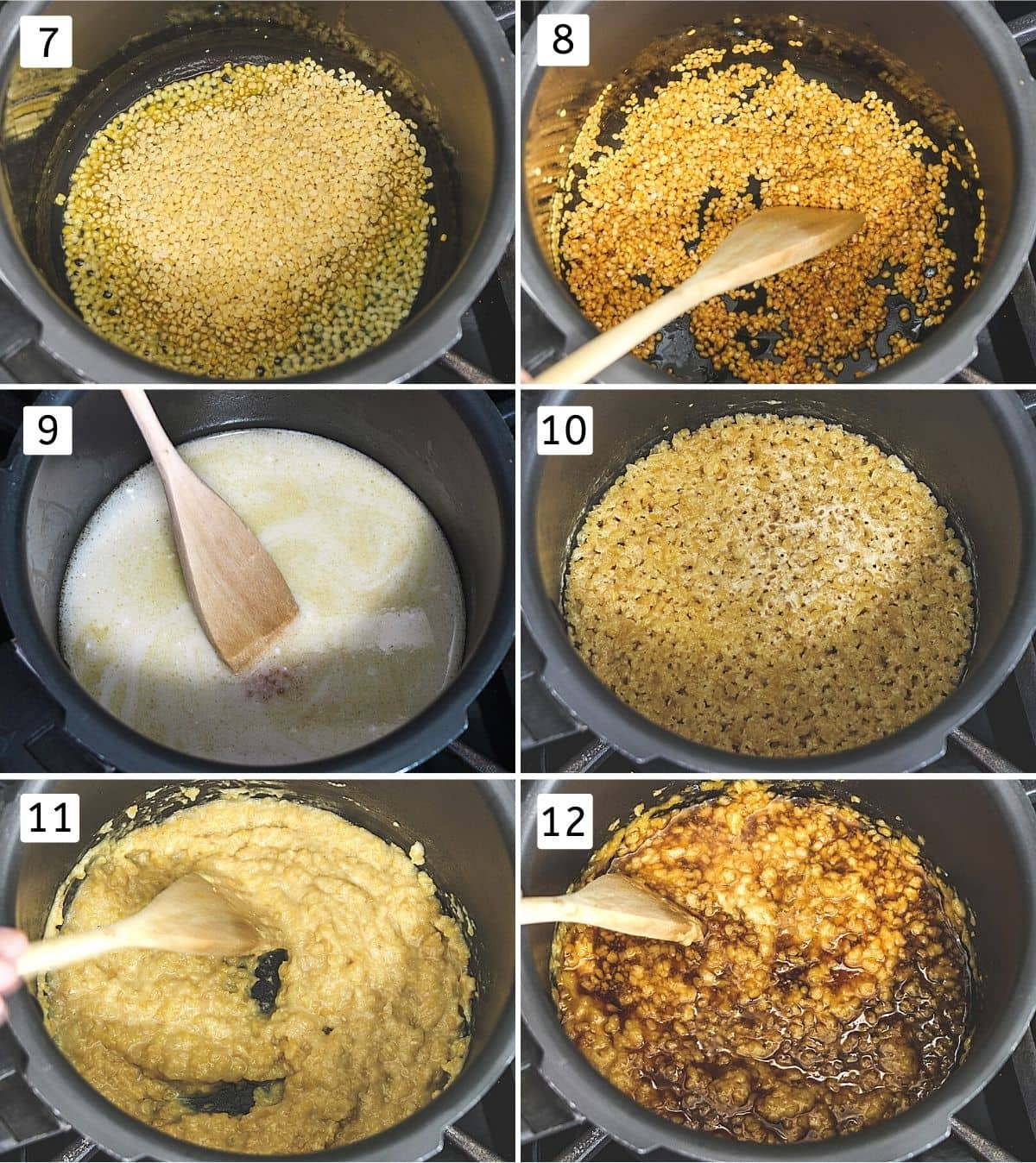 Collage of 6 images showing moong dal in ghee, roasted dal, added coconut milk, cooked dal, mashed dal, added jaggery