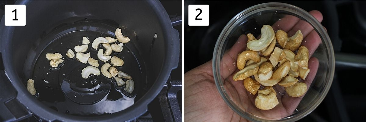 Collage of 2 images showing frying cashews in ghee and fried cashews in a bowl