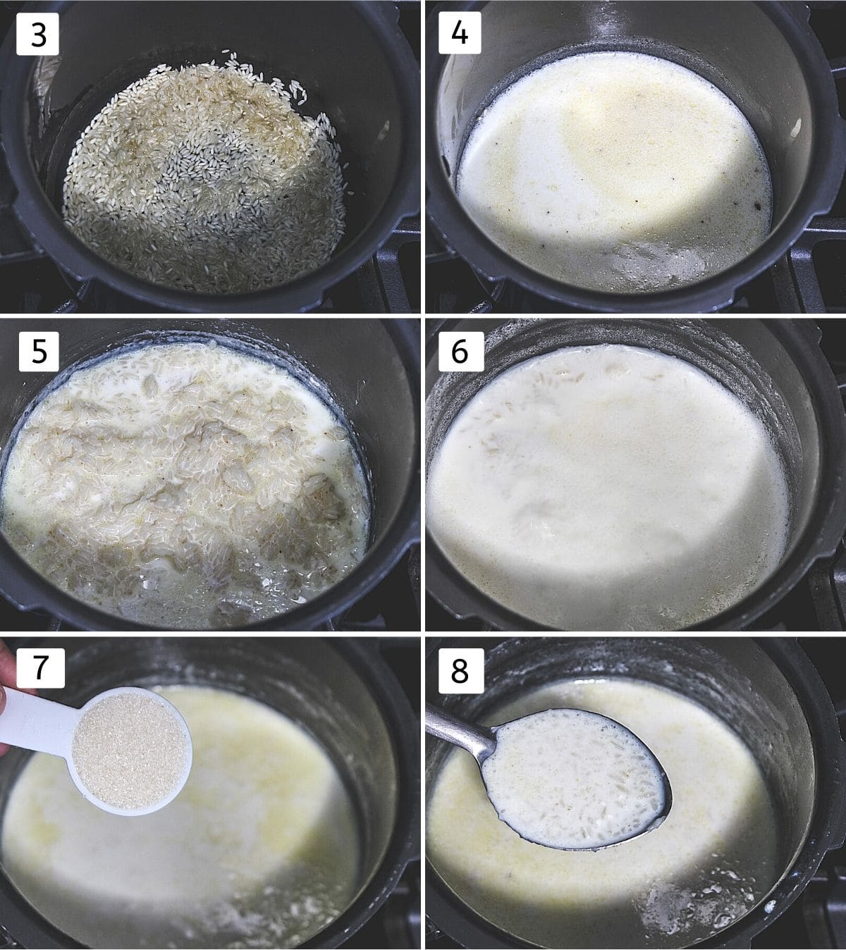 Collage of 6 images showing roasting rice, adding milk, cooked rice, added more milk, sugar, ladleful of payasam