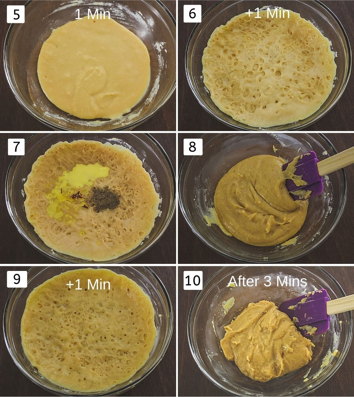 Collage of 6 steps showing peda mixture cooked for 1 min, another 1 min, added saffron-milk, cardamom, mixed, cooked for another 1 min, ready mixture