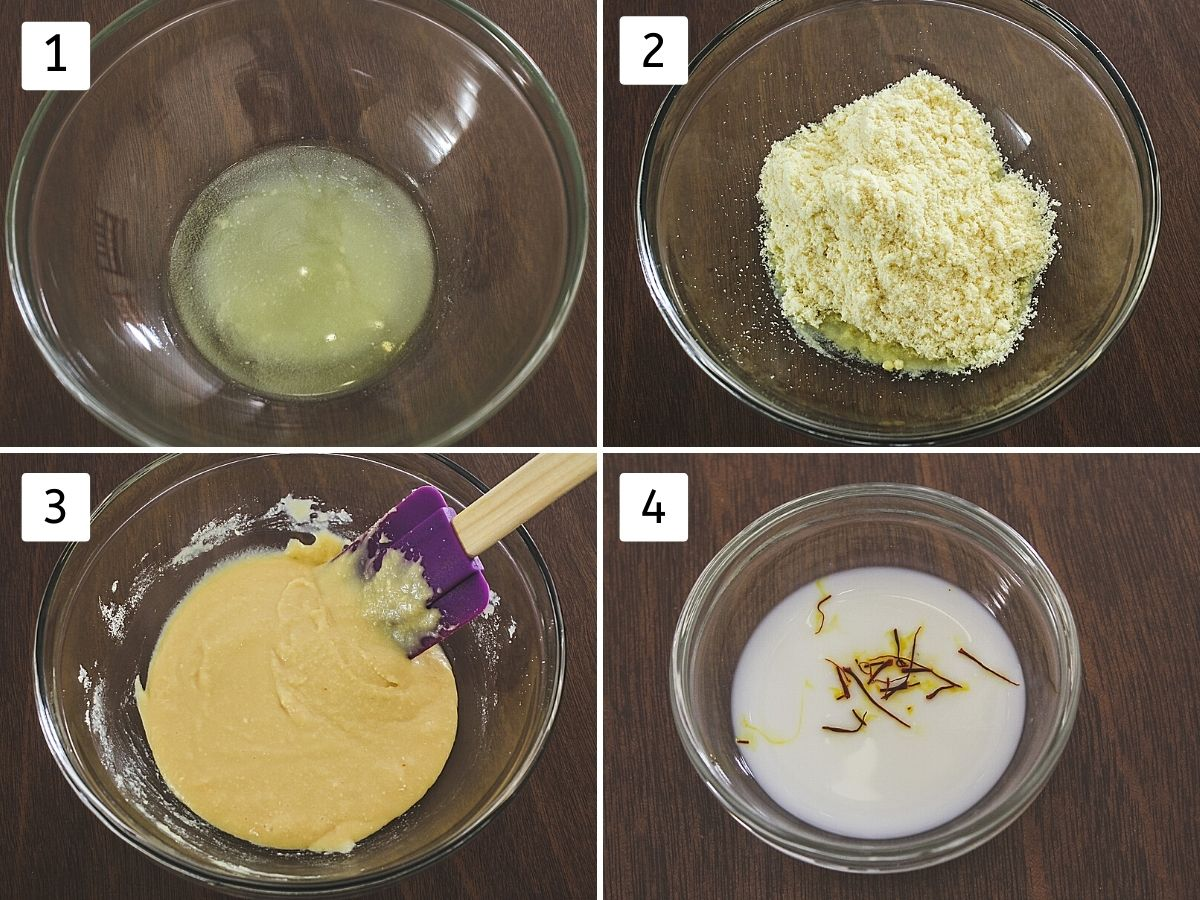 collage of 4 steps showing melted butter, added milk powder, added condensed milk and saffron-milk mixture in a bowl