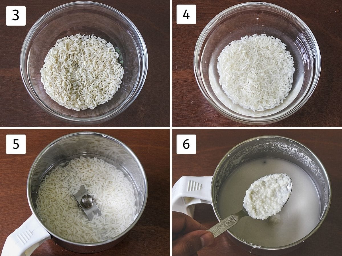 Collage of 4 steps showing rice in a bowl, soaked rice in a bowl, soaked rice with water in a grinder, coarse paste