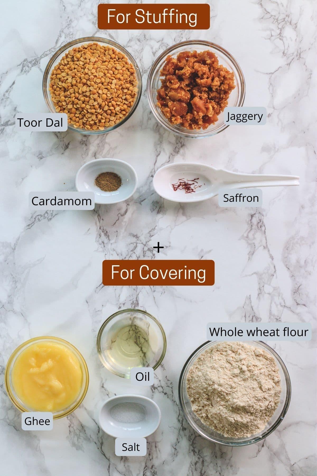 image of ingredients for puran poli. includes lentils, jaggery, saffron, cardamom, flour, salt, oil, ghee.