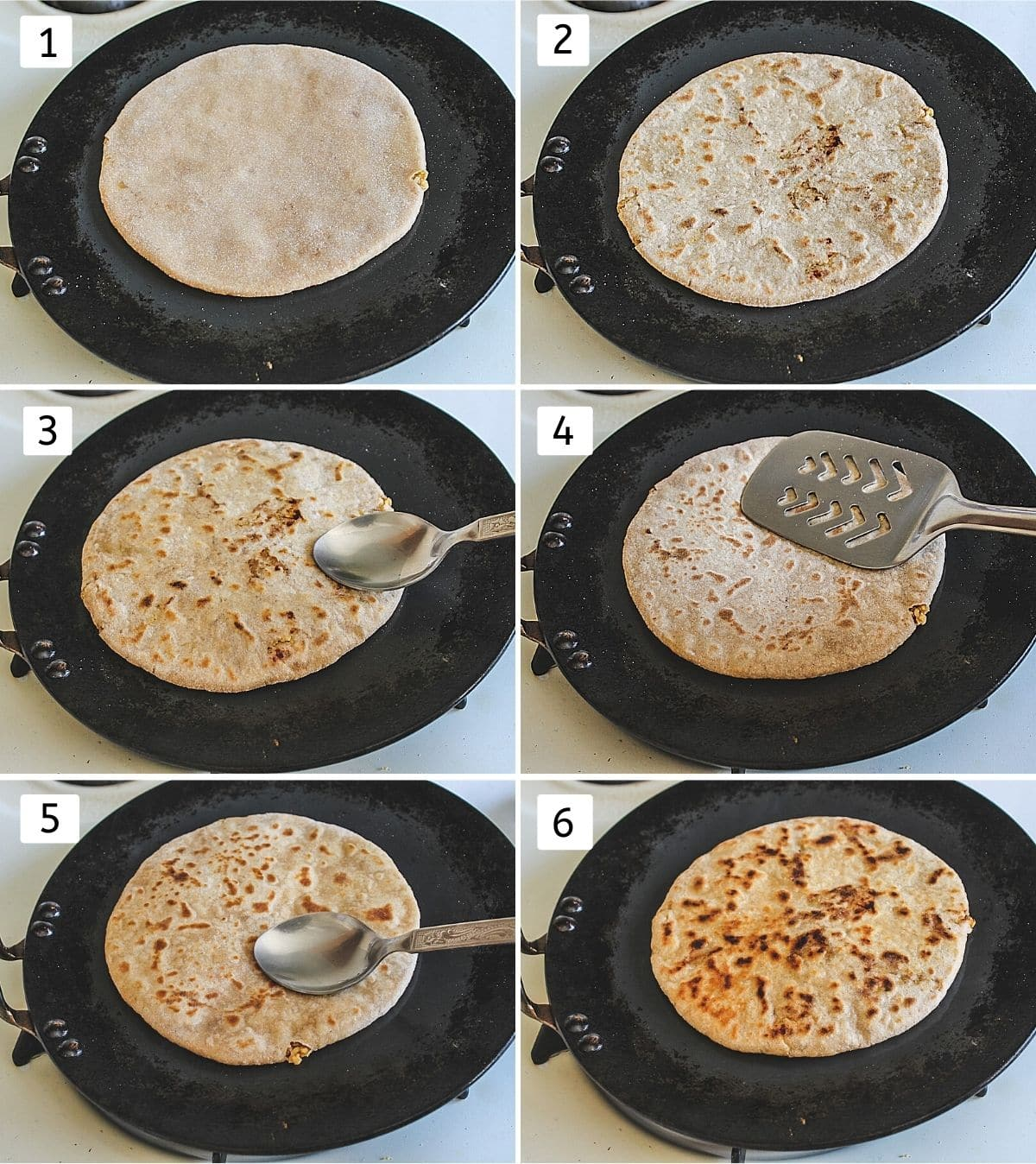 Collage of 6 images shows cooking puran poli steps on tawa with smear of ghee