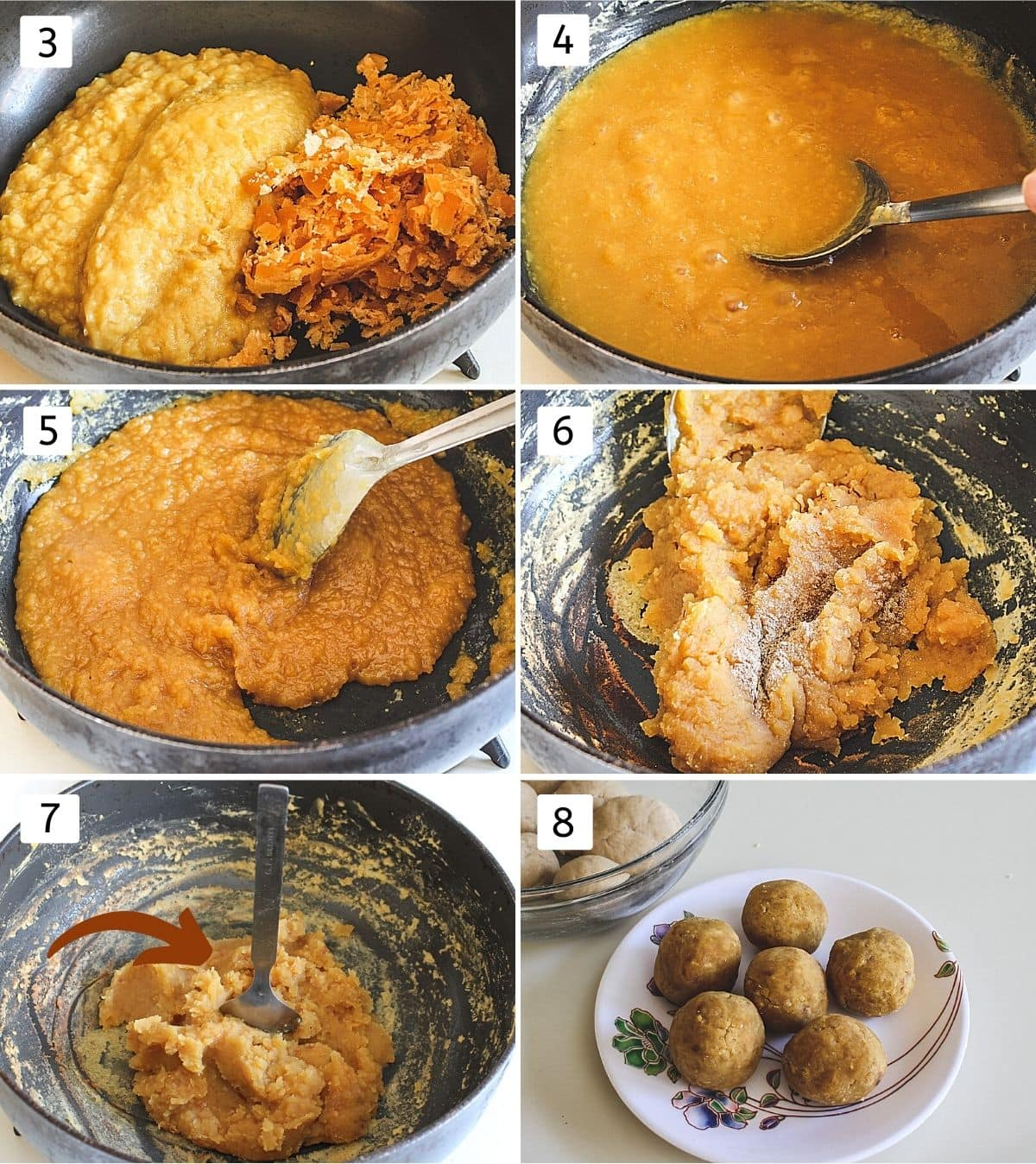 Collage of 6 images making stuffing. Shows cooked dal, jaggery in a pan, melted jaggery, cooking, adding cardamom, balls of stuffing