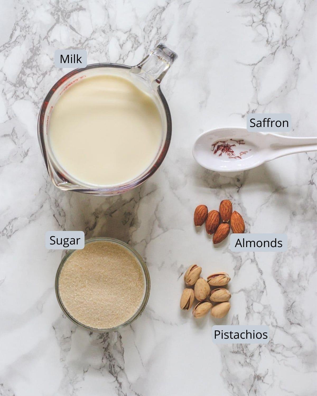 Ingredients used in rabri recipe includes milk, sugar, almonds, pistachios, saffron