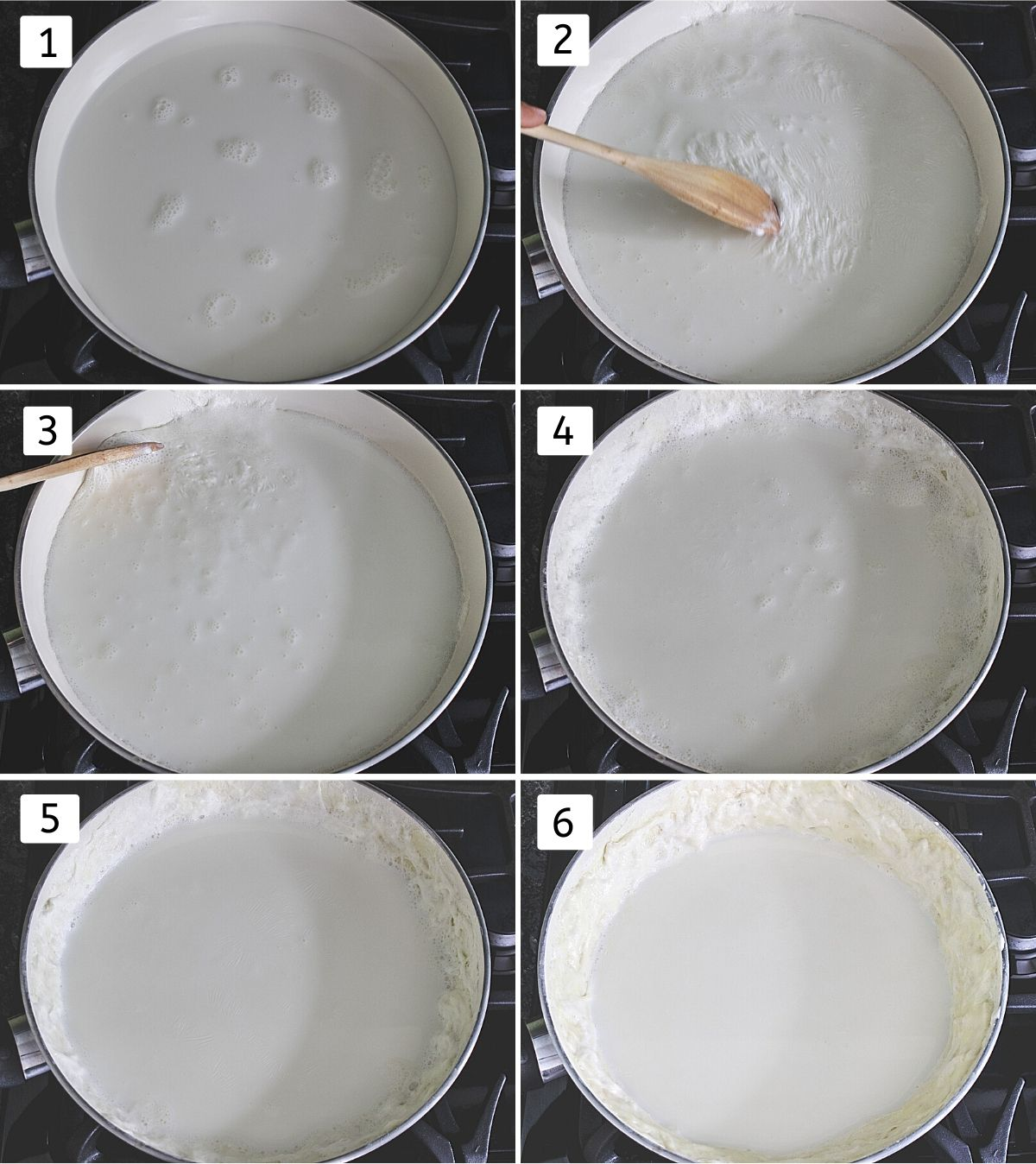 collage of 6 steps showing milk in a pan, collecting cream, sticking to the sides, repeat the same till it is 1/3 quantity