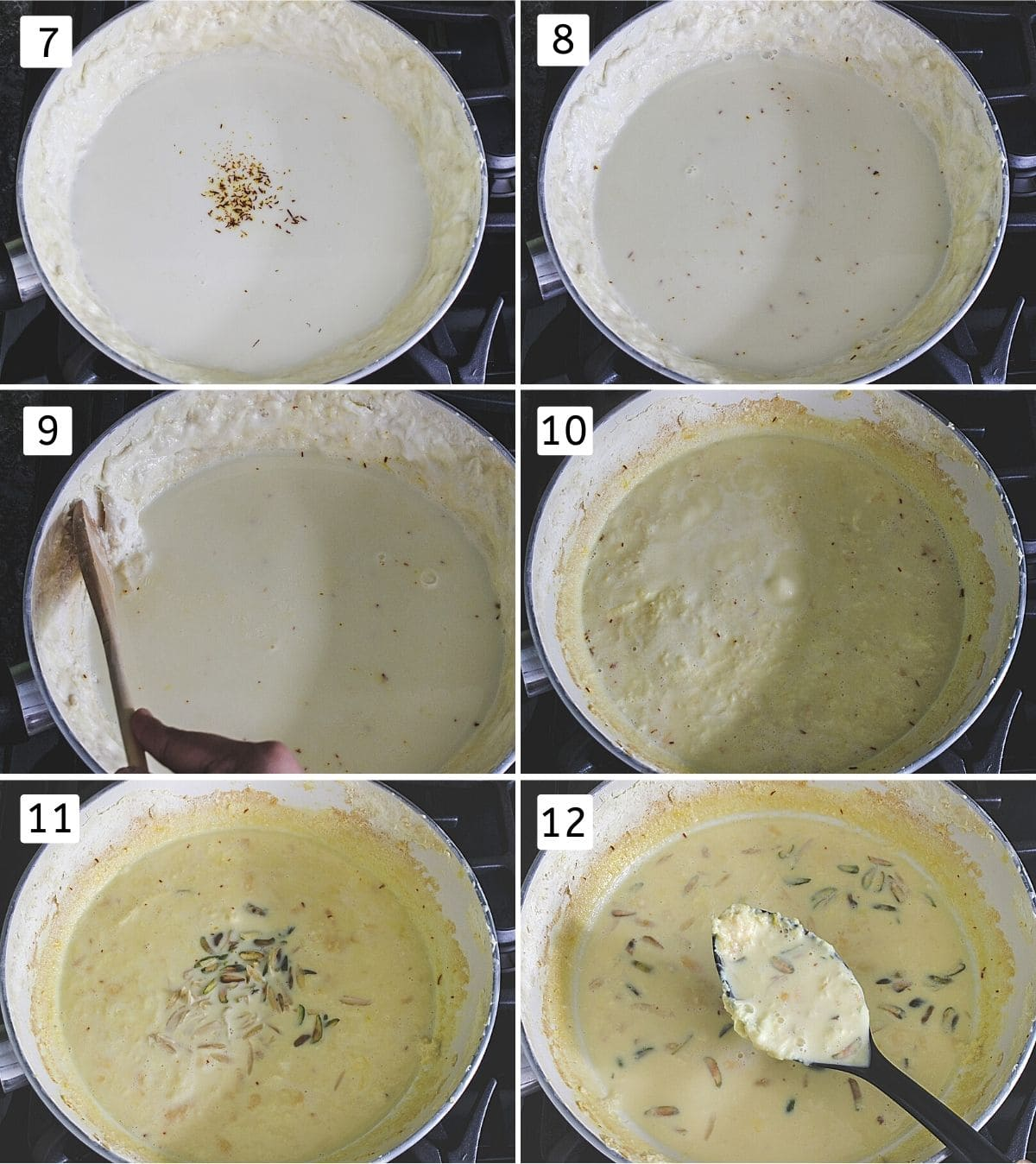 Collage of 6 steps showing adding sugar, saffron, simmering, scraping the sides, adding to the milk, adding nuts and spoonful of rabri