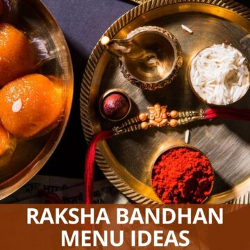 kumkum, diya, rakhi, rice in a copper plate and ladoo in another plate on side