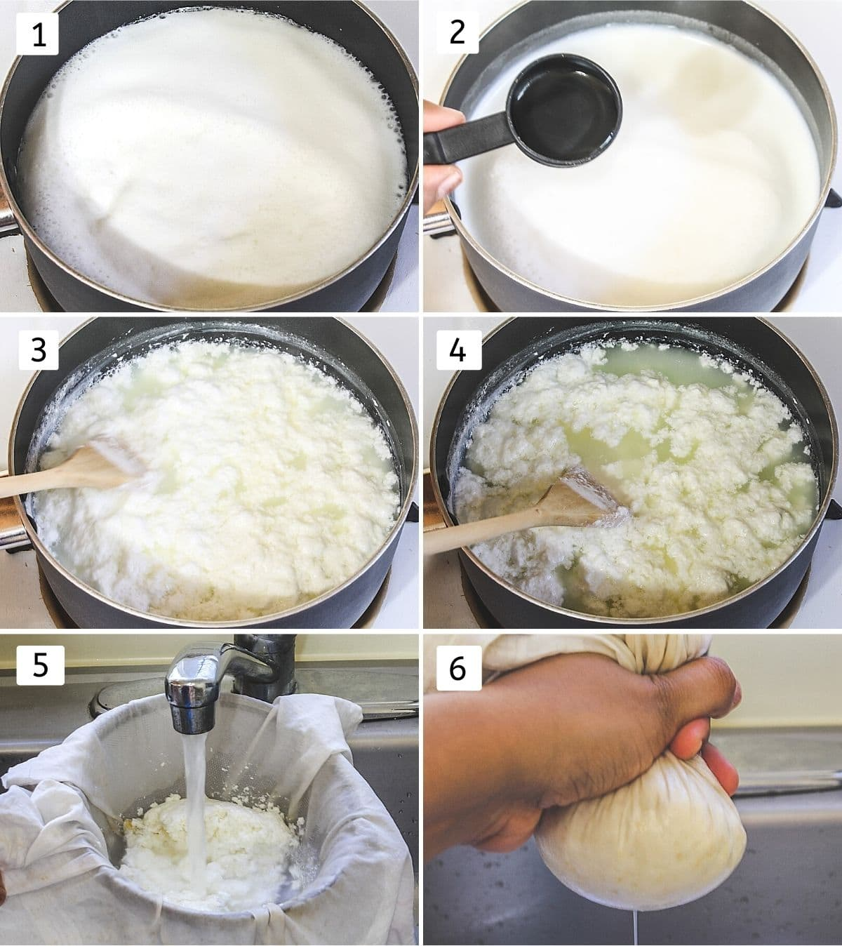 Collage of 6 images making chenna showing boiling milk, adding lemon juice, curdled milk, washing cheena, squeezing the water