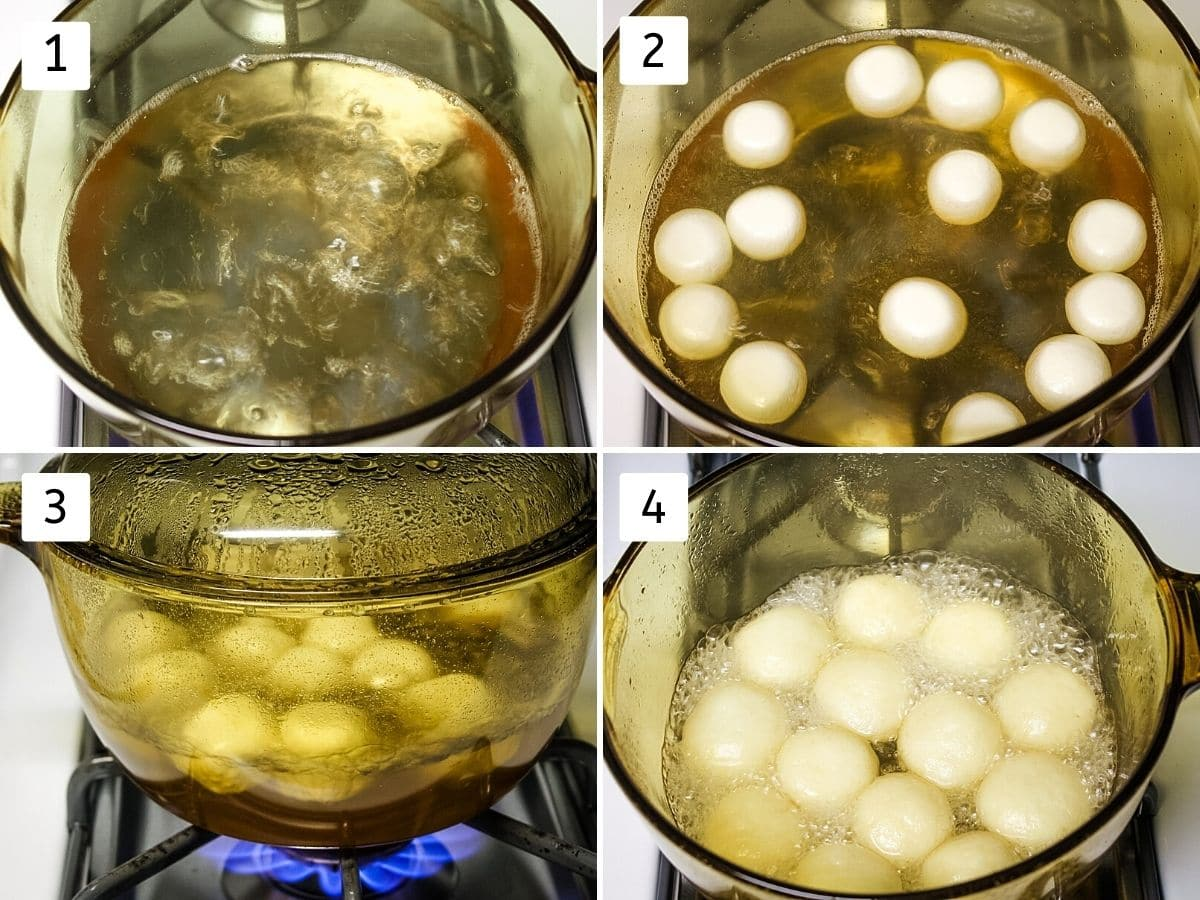 Collage of 4 images showing boiling sugar syrup, balls added in syrup, covered pan, cooked rasgulla