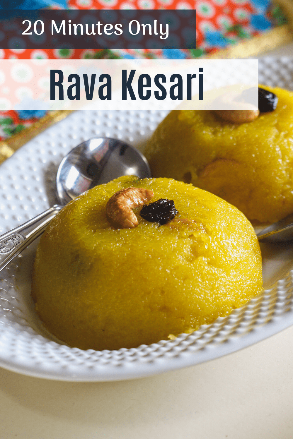 rava kesari with garnish of cashew and raisin with text on top of the image for pinterest