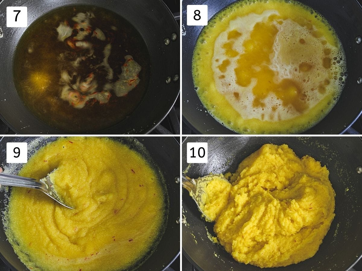 Collage of 4 images showing boiled saffron water, adding semolina to it, mixing and thickened mixture