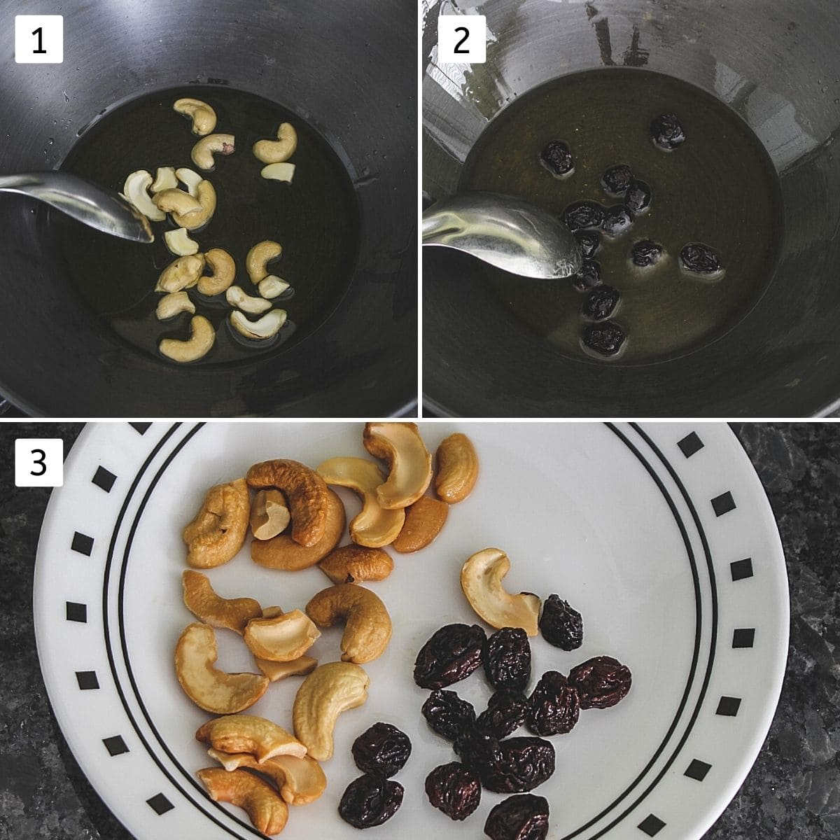 Collage of 3 images showing frying cashews, frying raisins and fried both in a plate