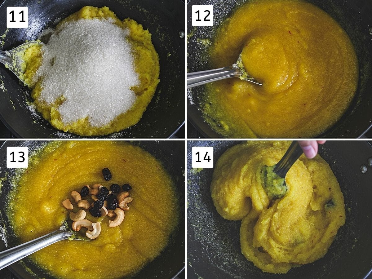 Collage of 4 steps showing added sugar, melted, added cashews, raisins, ready rava kesari