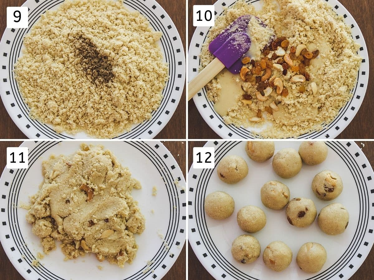 Collage of 4 images showing adding cardamom to roasted semolina, add condensed milk, nut, mixing and shaping ladoo