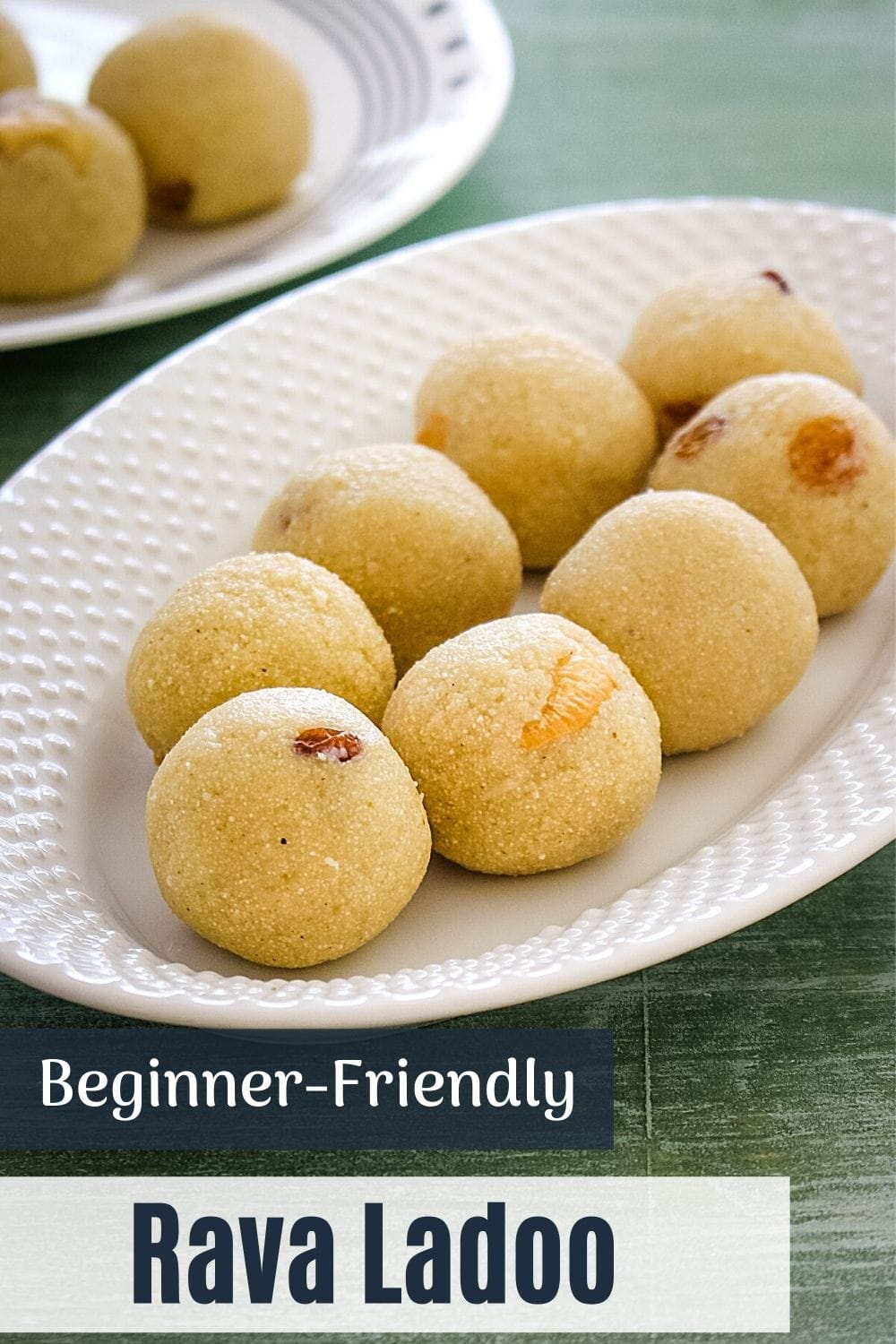 7 rava laddu in an oval plate with text at the bottom of the image for pinterest
