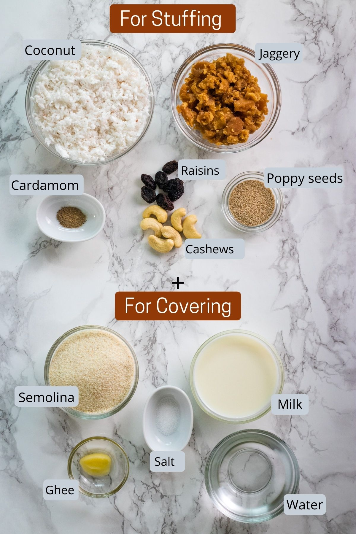 image of ingredients used in rava modak prepared in individual bowls.