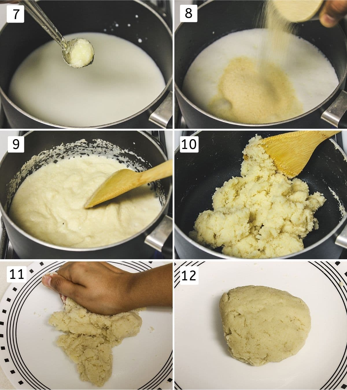 Collage of making outer dough. Shows boiling milk, adding semolina, mixing and kneading to a dough.