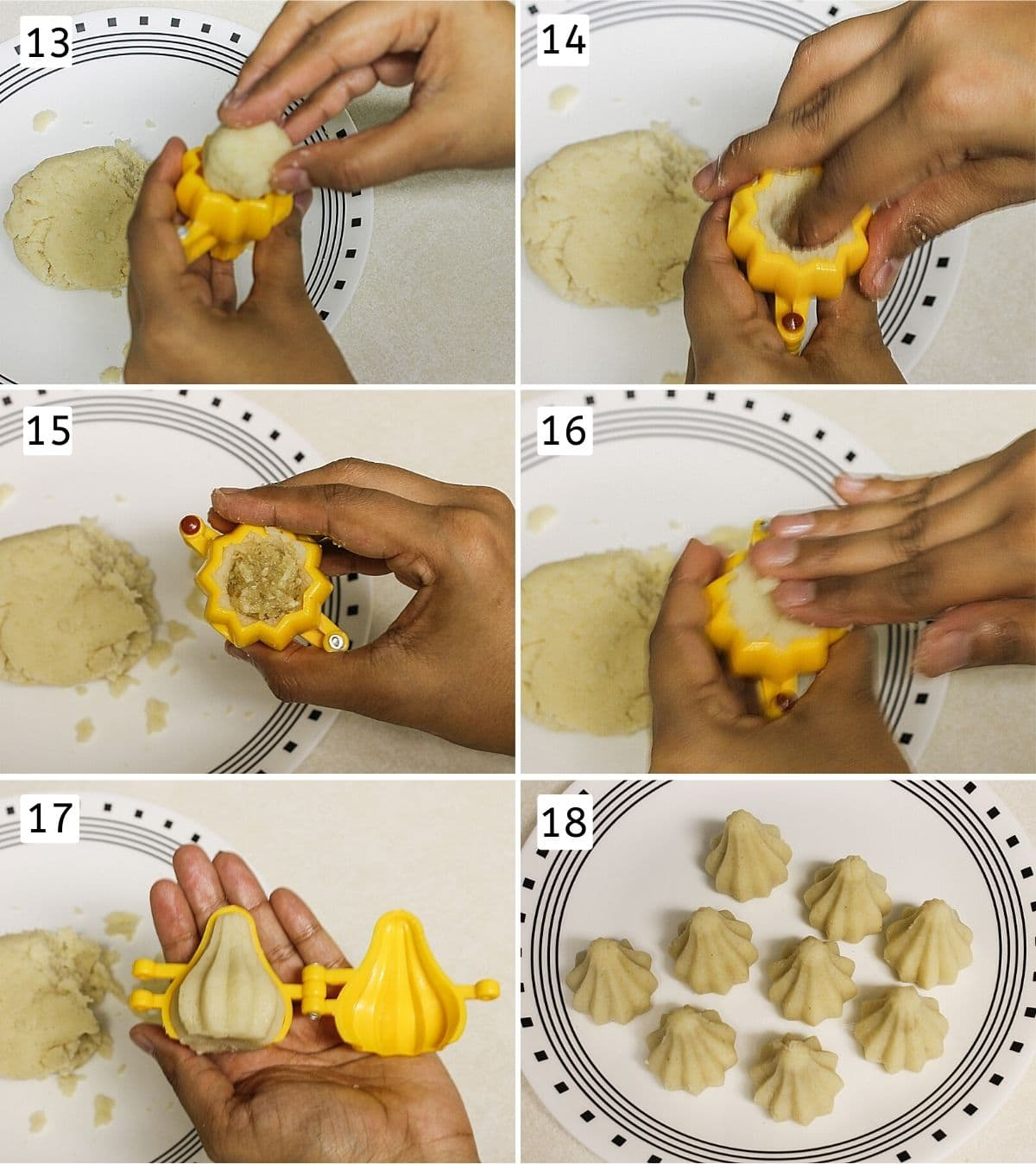 Collage of shaping rava modak shows adding dough ball, pressing stuffing, sealing and unmoulding