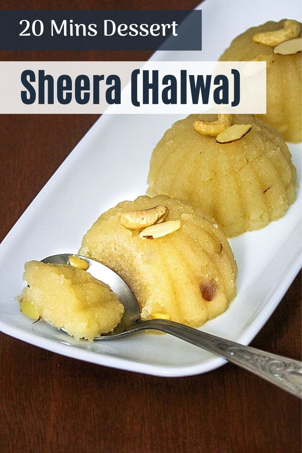 Rava sheera taken a spoonful ready to eat with text on top of the image