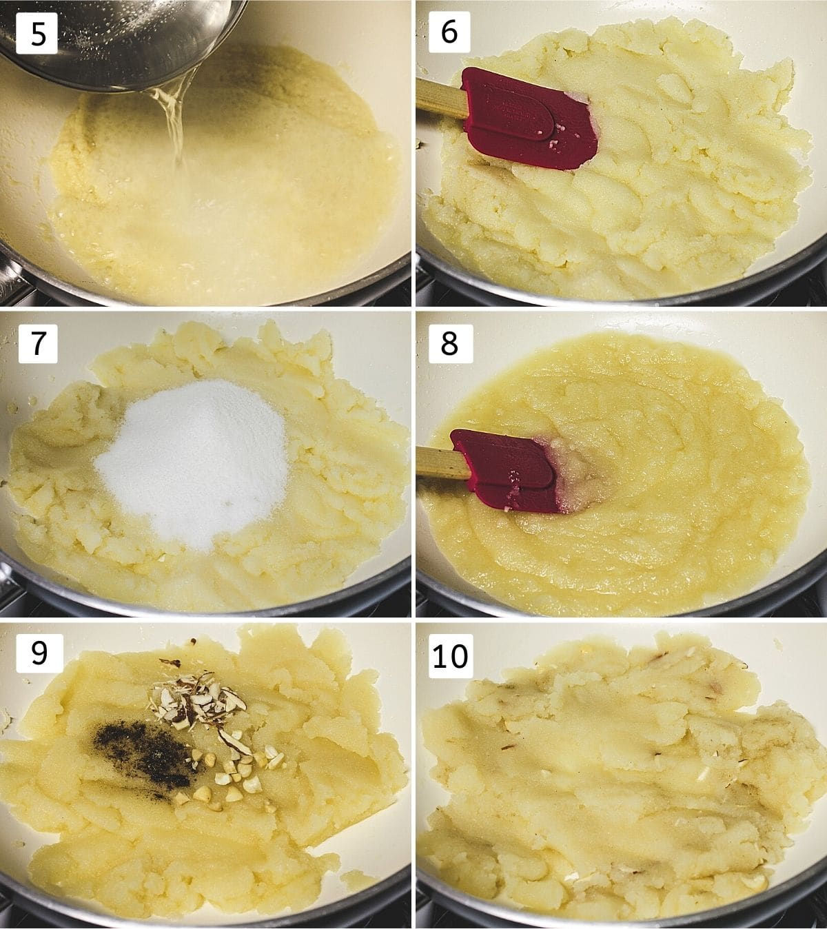 Collage of 6 images showing adding water, mixing, adding sugar, cooking, adding nuts, cardamom and mixing