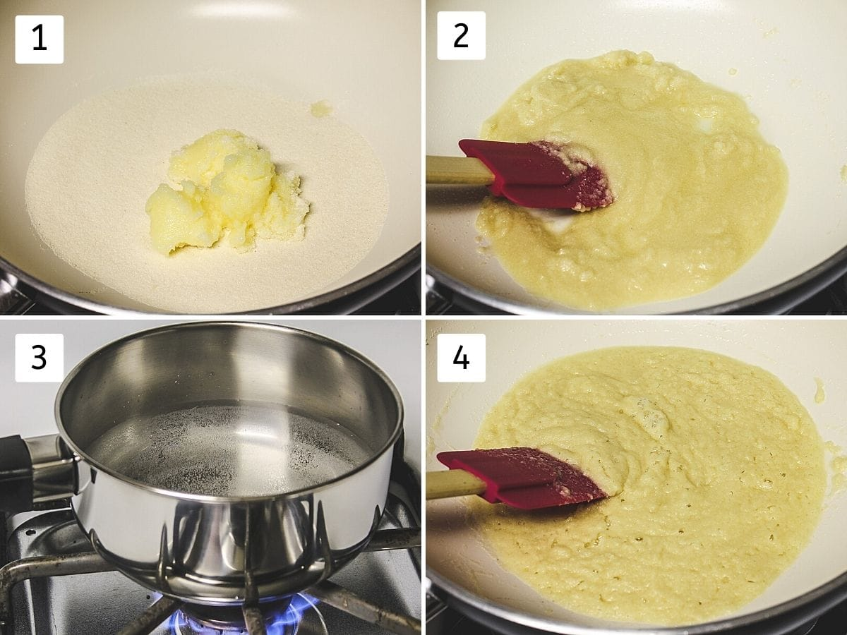 Collage of 4 images showing sooji, ghee in a pan, cooking, heating water and roasted semolina