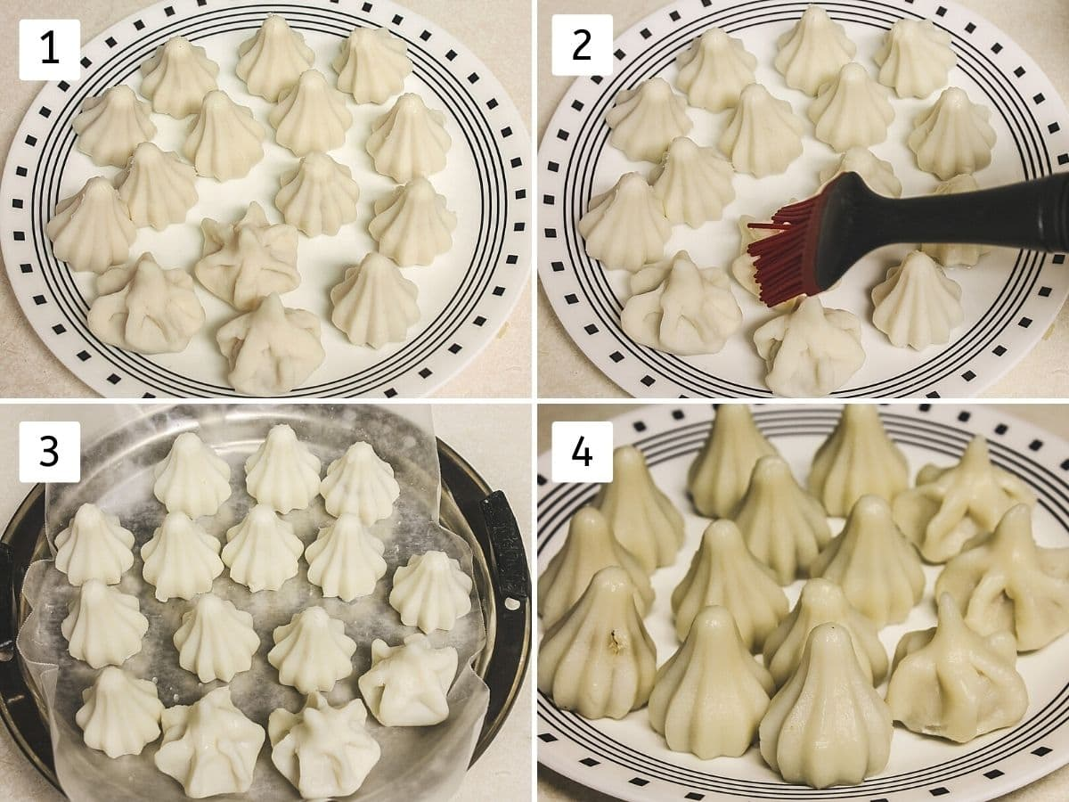 collage of 4 steps of steaming modak. Shows shaped modak, brushing water, on steamer plate and steamed